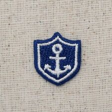 Small/Mini Anchor in Shield - Blue/White - Iron on Applique/Embroidered Patch