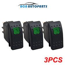 3pcs Green LED Light ARB Bar Carling Rocker Switch 12V 20A 3 Pin Universal Truck