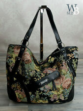 Ital. Blumen Damen Schulter Tasche Shopper Echt Leder - Stoff - Schwarz  X31