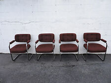 Set Of Four Vintage Chrome Wide Dinning Room Chairs By Patrician Furniture  7947