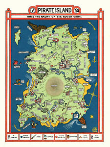 1924 Illustrated Fantasy Map of a Pirate Island Buried Treasures Wall Art Poster