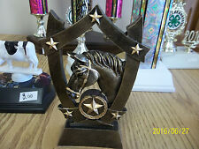 """Equestrian, horse trophy, award, about 6"""" high, includes engraving"""