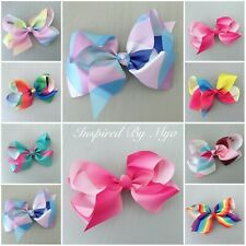 "Girls Hair Bow Clip Large 6"" Bow Jojo Style School Dance Big Hair Accessories"