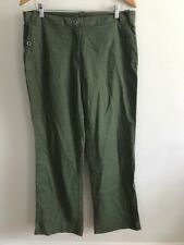 George Olive Linen Cotton Pants womens Size 12 Green Wide Leg Summer