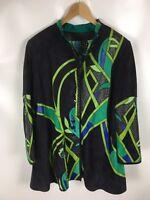 ZASPEL Design Jacke, Leder und Seide, Patchwork und Stickerei, Größe 40