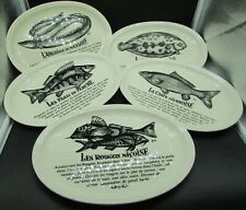 5 assiettes ovales recettes poisson Gien french fish plates