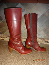 Vintage Womens Dexter Sz 10M Reddish Brown Leather Cowboy Boots Stacked Heels