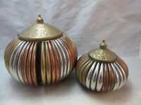 2 Copper, tin, brass round boxes made in India