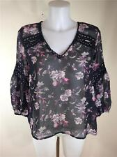 FAMOUS CATALOG SHEER CHIFFON LACE TRIM V-NECK  BLOUSE TOP SZ SMALL