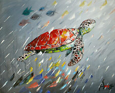 100%HAND-PAINTED ART ACRYLIC OIL PAINTING ABSTRACT Animal tortoise 40x50cm