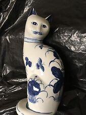 "Blue/White porcelin Cat statue,10""x4"",Thailand,floral/butterfly/bow design"