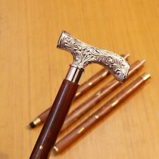 Vintage Nautical Brass Derby Design Handle Victorian Wooden Walking Stick Cane
