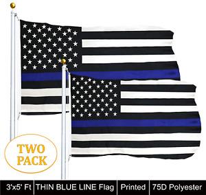 G128® TWO PACK 3'x5' THIN BLUE LINE FLAG BLACK & WHITE USA FLAG- Law Enforcement