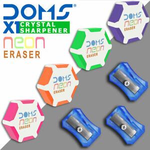 DOMS X1 Neon - Pencil Eraser Rubber & Pencil Sharpener School Craft Drawing UK ⛳