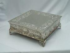 """BRAND NEW Silver Square Embossed Wedding Cake Plateau 10"""" Cake Stand"""