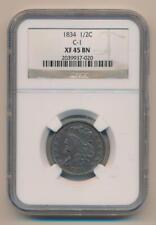 1834 Half Cent, C-1. NGC XF45