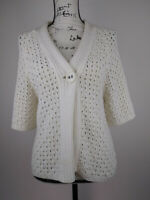 Lizwear By Liz Claiborne womens sweater cardigan cable knit Medium White short