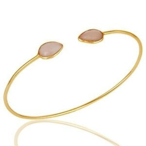 18K Yellow Gold Plated Silver Chalcedony Gemstone Open Stackable Bangle