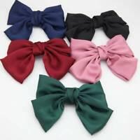 1pc Beautiful Girls' Silk Bow Barrettes Hair Clips Women Big Bowknot Hair Clips