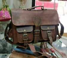 Men Laptop Genuine Brown Shoulder Messenger New Leather Briefcase Vintage Bag