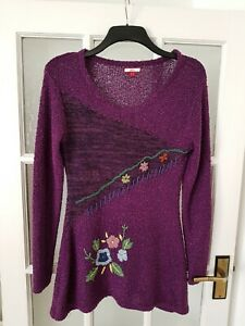 JOE BROWNS Knitted  Embroidered Tunic Top/Jumper  Size  UK 10