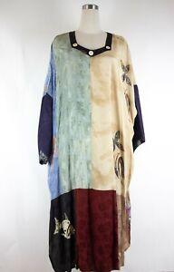 NWT Kusnadi New York Womens OS Art To Wear Hand Made Long Rayon Kaftan Dress