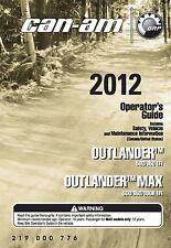 Can-Am Owners Manual 2012 OUTLANDER & OUTLANDER MAX 500, 650, & 800R EFI