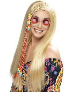 Long Blonde Hippy Wig 1960s 70s Fancy Dress Hippie Accessory Mens Ladies + Braid