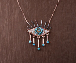 EYE TURQUOISE ROSE GOLD COLORED OVER .925 STERLING SILVER NECKLACE #33868