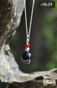 Handmade necklace / pendant with Sterling Silver, Black Onyx & Glass Beads.