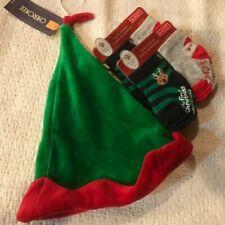 NEW Cherokee Christmas Elf Velour Hat 6-9 mths & 4 pair socks ~ Size 0-6 Months