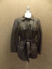 Beautiful Vtg Custom Coat Brown Deerskin Leather Fringed Belted Jacket Womens 38