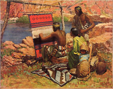 RW AMICK Lrg Vtg c1920s-33 Litho THE INDIAN WEAVER, Native American, U.S.P. & L.