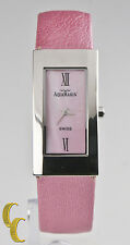 AquaMarin Femmes Acier Inoxydable Montre W/ Cadran Rose Bracelet Cuir AL22103