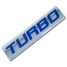 CHROME/BLUE METAL TURBO ENGINE RACE MOTOR SWAP EMBLEM BADGE FOR TRUNK HOOD DOOR