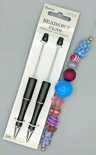 3 pc Beaded Pen Kit, 2 Black Plastic Pens, 1 Strand Large Hole Beads, B-A473