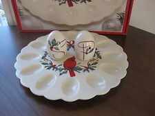 Lenox Winter Greetings Egg Platter w/Salt Pepper New in Box Cardinal $100 New