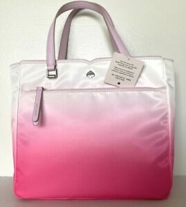 New Kate Spade New York Jae Degrade Medium Satchel Nylon handbag Radiant pink