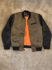 Bleecker And Mercer Olive Black Orange Bomber Jacket Size XXL