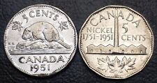 Set of 2 Canada 5 Cent Nickels - 1951 Commemorative & 1951 Low Relief