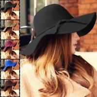 Womens Wool Soft Felt Fedora Floppy Cloche Wide Brim Bowknot Hat Cap 8 Colour