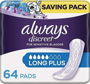 Always Discreet Incontinence Pads for Women Long Plus Saving Pack 32 or 64 Pads