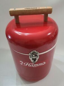 Hamm's Beer Cooler Metal &  Styrofoam Vintage carry red tin can wood handle Rare