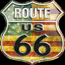 """US ROUTE 66 AMERICAN FLAG 12 X 12"""" SHIELD METAL TIN EMBOSSED HIGHWAY SIGN GARAGE"""