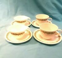 CORELLE CRAZY DAISY SPRING BLOSSOM COFFEE CUPS AND SAUCERS Set of 4 EUC