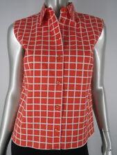 PRADA Orange White Check Cotton Sleeveless Blouse Top 8 M 44 Italy EUC