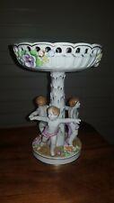 Antique German Dresden Figural Porcelain Compote Centerpiece 2 Female Figures