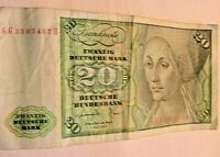 1977 Germany 20 Marks VF Very Fine Original Paper Money Banknote Currency P32