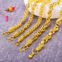 "Men's Dragon Head Bracelet 18K Yellow Gold Filled Chain 8.2"" Jewelry Friend Gift"