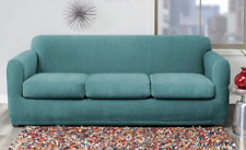 NEW Sure Fit Stretch Modern Block 4 piece Sofa Piece Slipcover Bristol Blue